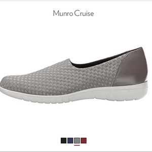 Munro Cruise Woven Fabric & Leather Shoes NIB Greige Made In USA